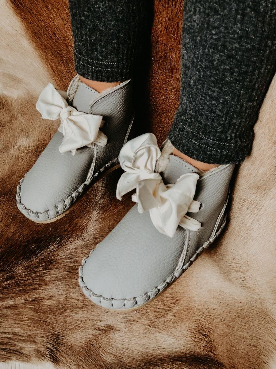 PINA ORGANZA LINING   Elephant Grey Leather + Cream Cotton